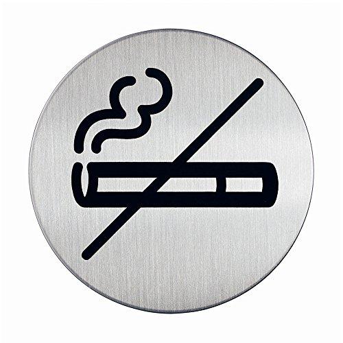 Durable 491123 - Pittogramma Tondo, Adesivo, con Simbolo Serigrafato Vietato Fumare, Acciaio Inossidabile, Diametro 83 mm, Argento Metallizzato