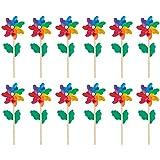 12 Kleine Windräder in Regenbogenfarben, Kunststoff mit Holzstab, 11,4 x 28,5 x 5,3 cm