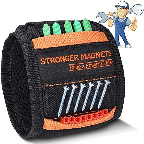 Pulsera magnética con 10 potentes imanes, herramienta para guardar herramientas, tornillos, clavos, pernos, brocas y pequeñas herramientas, naranja