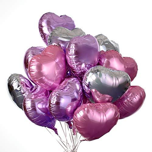30 pcs Heart Balloons 18' Foil Love Balloons Mylar Balloons Silver heart balloons Valentines Day Decorations Balloons for Valentines Day Propose Marriage Wedding Party Wedding