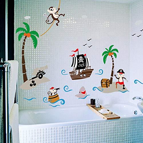 Cheeky Monkey Arbre De Noix De Coco Stickers Muraux Salle De Bain Enfants Bébé Chambre de bébé Décor À La Maison Décorations Diy Pvc Murale Art Stickers