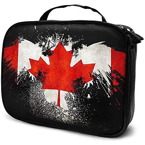 Eagle of Canadian Flag Sac de Maquillage Rouge Étui à cosmétiques Portable Organisateur de cosmétiques de Grande capacité Durable