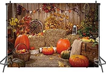 LTLYH 5x3ft Halloween Pumpkin Photography Backdrops Thanksgiving Autumn Gifts Backgrounds Haystack Decoration Backdrop Rustic Wood Wall Photo Background 117