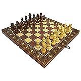 Sfit Juego de ajedrez 3 en 1 Backgammon Dame Ajedrez plegable Chess Board de alta calidad con grandes figuras de ajedrez, juguete educativo para niños y adultos (39 x 39 cm)