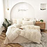 genral Winter Duvet Cover Set White King Size Faux Fur Fluffy Fleece Thermal Warm Quilt Cover with 2 Pillowcases Long Pile Blanket Throw Bedding Set