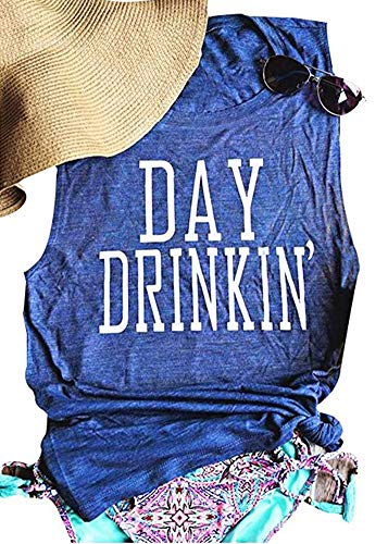 HDLTE Women's Day Drinkin' Tees Sleeveless Funny Workout Letters Print Tank Top T-Shirt Blue