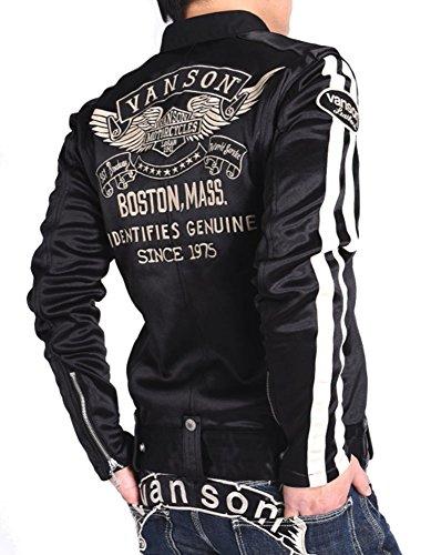 【当店別注】(バンソン) VANSON ライダース フライングエンブレム 刺繍&ワッペン ボンディング ライダース ジャケット JFV-802-BLACK (M, ブラック)