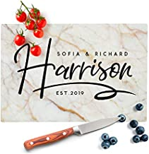 Personalized Kitchen Signs for Couples - 12 Marble Colors, 8x10 in - Tempered Glass Cutting Board - Wedding Gifts for the Couple, Housewarming Gift, Personalized Gifts, Anniversary Gifts
