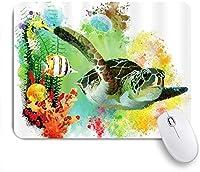 PATINISAマウスパッド 水彩の海の動物の海底サンゴの世界魚カメクラゲ ゲーミング オフィス おしゃれ 防水 耐久性が良い 滑り止めゴム底 ゲーミングなど適用 マウス 用ノートブックコンピュータマウスマット