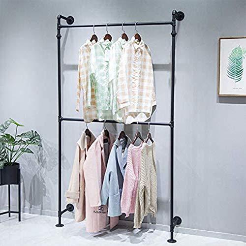 FURVOKIA - Perchero estilo industrial para colgar ropa, montaje en la pared, barra de hierro negro, barra multiusos para colgar en el armario