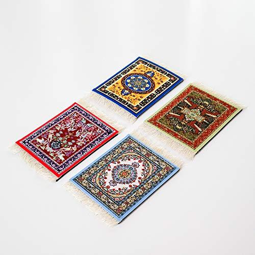 4 schöne orientalische Getränkeuntersetzer (4er Set) - Orientalische Teppichdesigns - Teppich Tischuntersetzer - Rutschfester Untersetzer - Perfekte Einweihungsgeschenkidee