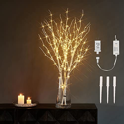 LITBLOOM Lighted Twig Branches with Timer and Dimmer Birch Tree Branch with Warm White Lights for Indoor Outdoor Christmas Holiday and Party Decoration 32IN 150 LED Plug in