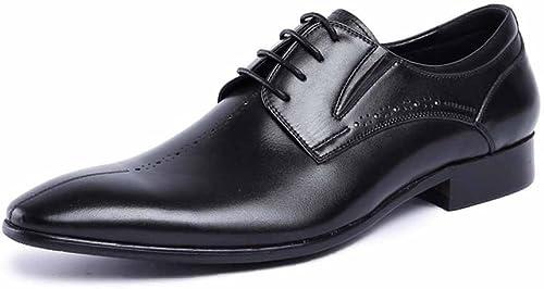 GLSHI Hommes Pointu Derby Derby New Oxford Chaussures De Travail Confortables Styliste De Mode Chaussures en Cuir