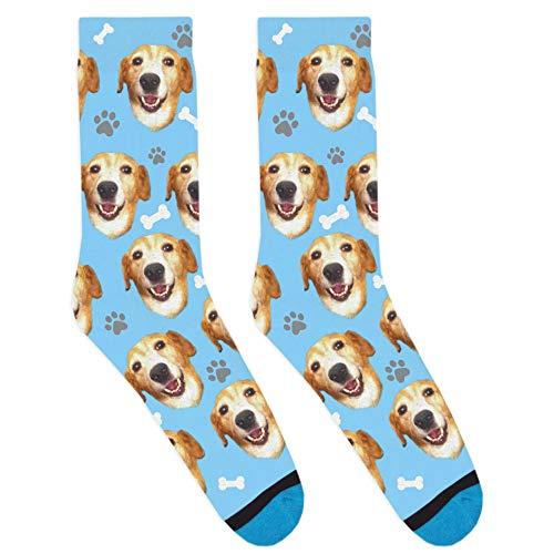 DivvyUp Socks - Custom Dog Socks - Put Your Dog on Socks! (Youth, Blue)