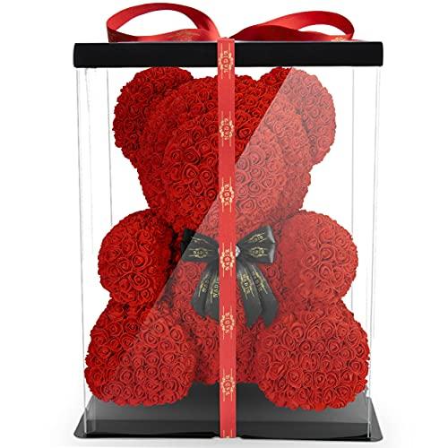 Oso de flores con lazo, 70 cm, incluye caja de regalo preembalada, tamaños para el día de San Valentín, día de la madre, cumpleaños, aniversario, infinito, rosetón, oso de peluche (rojo, 70 cm)