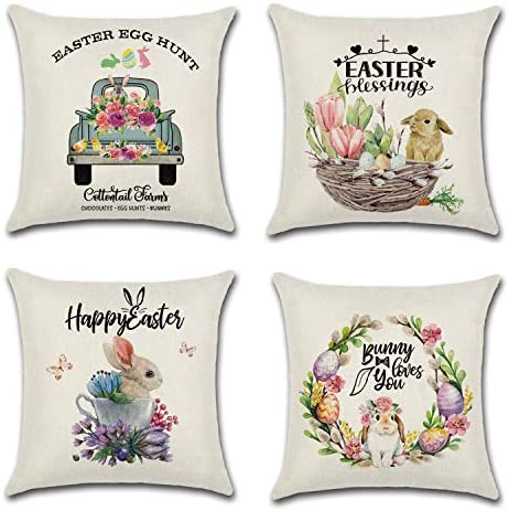 Anpatio 4 Pcs Rabbit Egg Easter Throw Pillow Covers 18 x 18 Inch Cotton Linen Vintage Truck product image