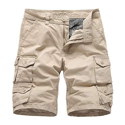 Heren Cargo Short - BMEIG Zomer Casual Katoen Multi Pocket Loose Fit Army Combat Pants Regular Outdoor Werkbroek Zwart Khaki