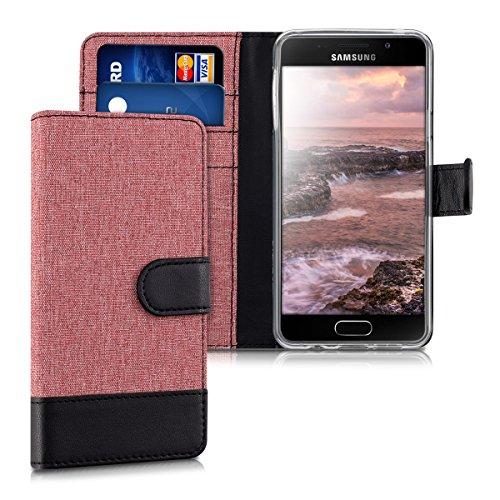 kwmobile Hülle kompatibel mit Samsung Galaxy A3 (2016) - Kunstleder Wallet Case mit Kartenfächern Stand in Altrosa Schwarz