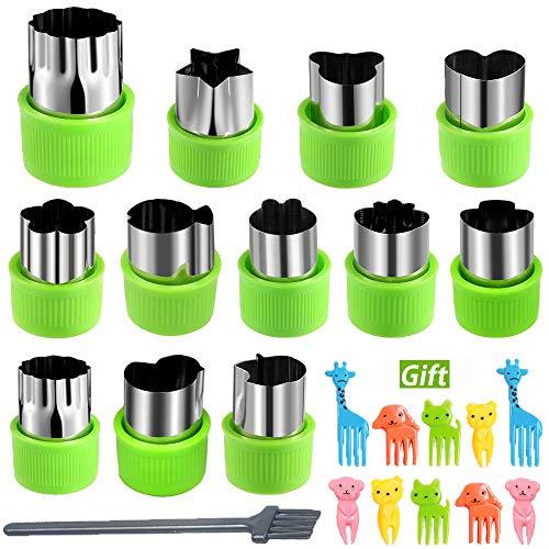 KAISHANE Set de cortadores con Formas de Fruta - 12 Piezas de Acero Inoxidable Cortador de Verduras para niños Mini Molde de Galletas 12 en 1 Verde