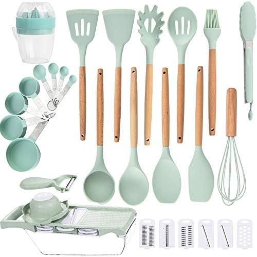 Silicone Cooking Utensils Indefinitely Set Kitchen 33pcs Max 84% OFF Se Nuloofen