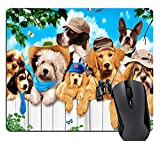 Knseva Dogs Outdoor Guys Gaming Mouse Pad Custom, Cute Puppies on Holiday Funny Mouse Pads