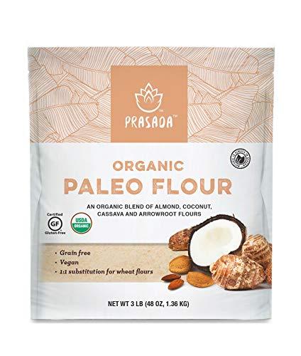 Prasada Organic Paleo Flour, Gluten Free Certified, Non-GMO, 1-to-1 All Purpose Flour Substitute, 48oz