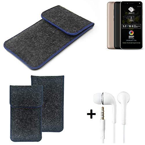 K-S-Trade Filz Schutz Hülle Für Allview A9 Plus Schutzhülle Filztasche Pouch Tasche Handyhülle Filzhülle Dunkelgrau, Blauer Rand Rand + Kopfhörer