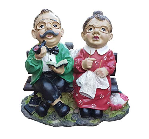 Fachhandel Plus Gartenfigur Opa und Oma auf Einer Gartenbank Parkbank