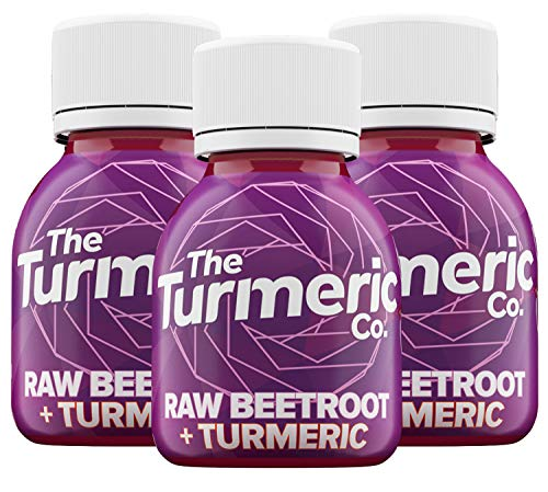 The Turmeric Co, Liquid Turmeric & Beetroot Drink Shots, High Strength 35000mg of Fresh Turmeric Root, High Nitrate Concentration, Black Pepper, Lemon, Pomegranate,9 Shots Cold Pressed