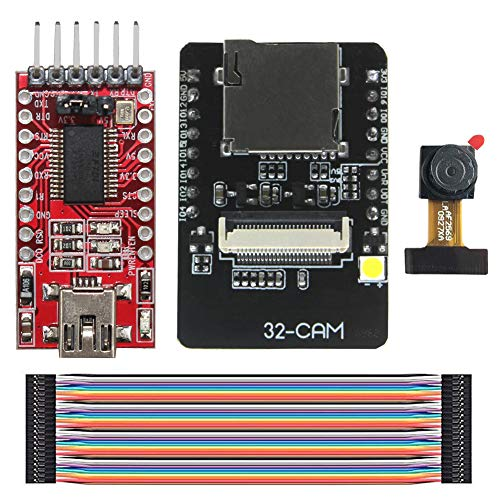 KeeYees Cámara WiFi + Bluetooth 4M PSRAM 32 bits Junta de Desarrollo de Doble CPU núcleo + OV2640 2MP Módulo de Cámara + FT232RL FTDI USB a Serial TTL Adaptador + 40 Pines Jumper Wire