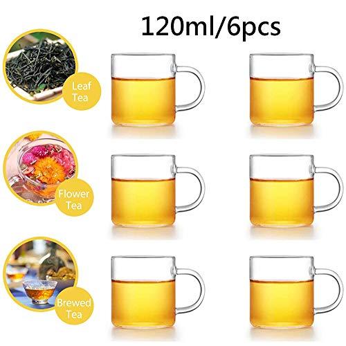 6 Pas mokken Drinkglazen Doorzichtige kopjes Thermisch geïsoleerde kopjes met handvat, voor thee Koffie Latte Cappuccino Espresso (120ML),120ML/6PCS