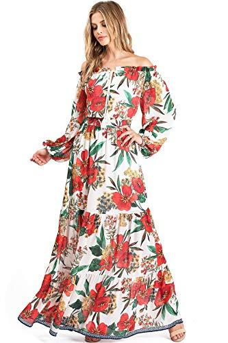 Jealous Tomato Women's Juniors Off Shoulder Chiffon Floral Maxi Dress (S, Ivory)