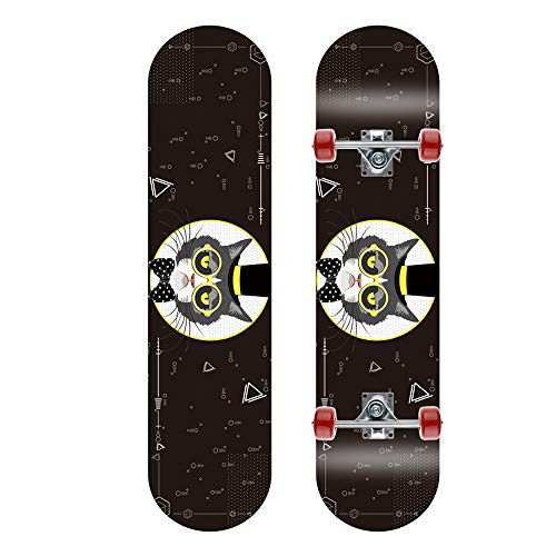 JMFHCD Mini Skateboards Completa de 31 Pulgadas Arce Retro Longboards para Adultos Principiantes Niñas Niños,Cat