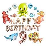 junfeng Globo Número Mar Palabra temático Foil Pescado Ballon Cartas Fiesta de cumpleaños Feliz Globos tiburón Decoración Globos Niños decoración hogareña (Color : Rose Gold 9)
