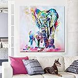 ganlanshu Cuadro En Lienzo Lindo Elefante Madre e Hijo en el Arte de la Pared para la Sala de Estar del dormitorio60x60cmPintura sin Marco