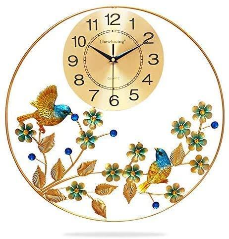 Pequeños Relojes de Pared del pájaro para el Regalo silencioso del Reloj del Metal de la decoración casera de la Sala de Estar, E