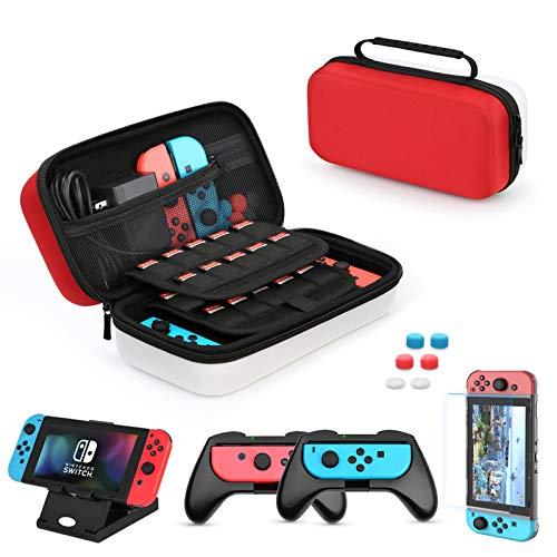 HEYSTOP Custodia per Nintendo Switch, 11 in 1 Custodia per Switch Nintendo, 2 Joy-con Grip per Switch Nintendo, PlayStand Regolabile, Pellicole Protettive con 6 Thumb Grip(Rosso/Bianco)