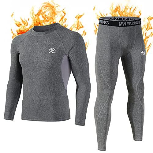 MEETWEE Thermounterwäsche Funktionsunterwäsche Herren, Skiunterwäsche Winter Suit Atmungsaktiv Lange Thermo Unterwäsche Set , Unterhemd + Unterhose, grau, size: L