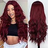 PORSMEER Peluca de mujer longitud Melena larga y con volumen, de estilo ondulado y resistente al calor, incluye rejilla para el pelo y peine para peluca, color rojo
