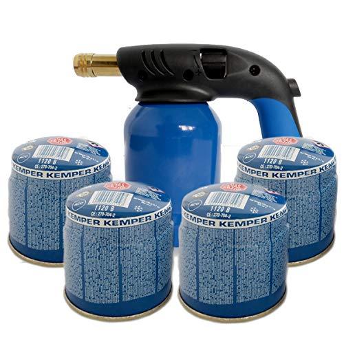 Lampe à souder chalumeau allume-feu Kemper et 4 bouteilles gaz butane sécurisé