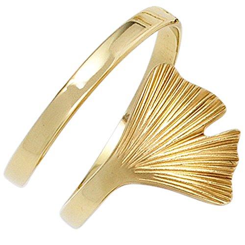 JOBO Damen-Ring aus 375 Gold mit Ginkgo-Blatt Größe 56