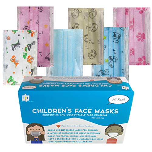 Kids Face Masks Disposable 30 Pack 3-Layer Children's Breathable Protective Face Masks with 6 Designs for Kids, Blue, Panda, Pink, Paw Print