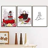 Resumen Tacones Altos Perfume Bolsa De LáPiz Labial Flor Carteles E Impresiones NóRdicos Arte De La Pared Pintura En Lienzo Cuadros De La Pared Para La Sala De Estar 30x50cmx3 (12x20'X3) Sin Marco