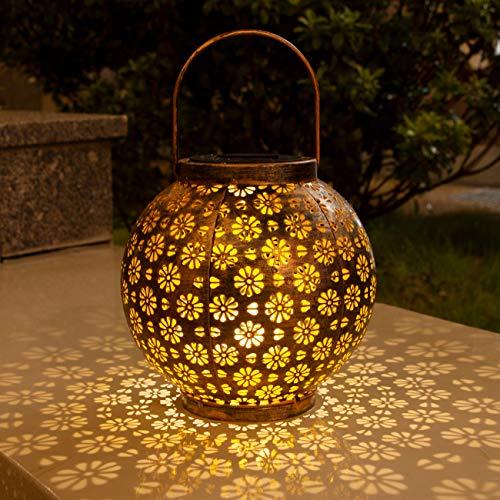 Hepside Farol Solar Exterior Jardin, Linterna Solar Lámpara IP65 Impermeable Luces de Linterna Solar, Farol Solar para Exteriores de Decoración Luces Decorativas para Jardin Terraza Patio Navidad