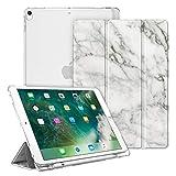 Fintie iPad Air 2019 ケース iPad Air3 10.5インチ ケース/iPad Pro 10.5 2017 ケース バックカバー Apple Pencil 収納可能 三つ折スタンド スリープ機能 軽量 薄型 半透明 傷つけ防止 PUレザー (モデル番号A2152、A2123、A2153、A1701、A1709)(柄 マーブルホワイト)