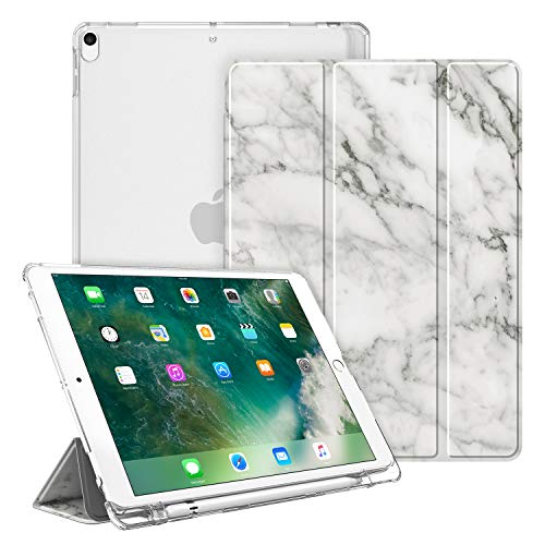 Fintie Case for iPad Air 10.5' (3rd Gen) 2019 / iPad Pro 10.5' 2017- Lightweight Slim Shell Standing Cover with Translucent Frosted Back Cover with Pencil Holder, Auto Wake/Sleep, Marble White