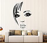Vinyl Wall Decal Beautiful Woman Face Sexy Eyes Lips Hairstyle Stickers Large Decor (1576LK)