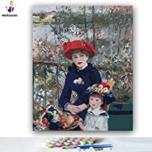 Paint by Number Kits Canvas DIY Oil Painting for Kids, Students, Adults Beginner with Brushes and Acrylic Pigment -Pierre-Auguste Renoir Two Sisters on The Balcony (86028, 16x20 no Frame)