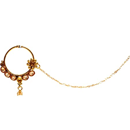 Details about  /CHOOSE ANY ONE LCT KUNDAN GOLD TONE NOSE RING NATH INDIAN ASIAN BRIDAL JEWELRY