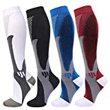 4 Pairs Compression Socks for Men and Women 20-30 mmHg Compression Stockings (Black+Blue+White+Red, xx_l)